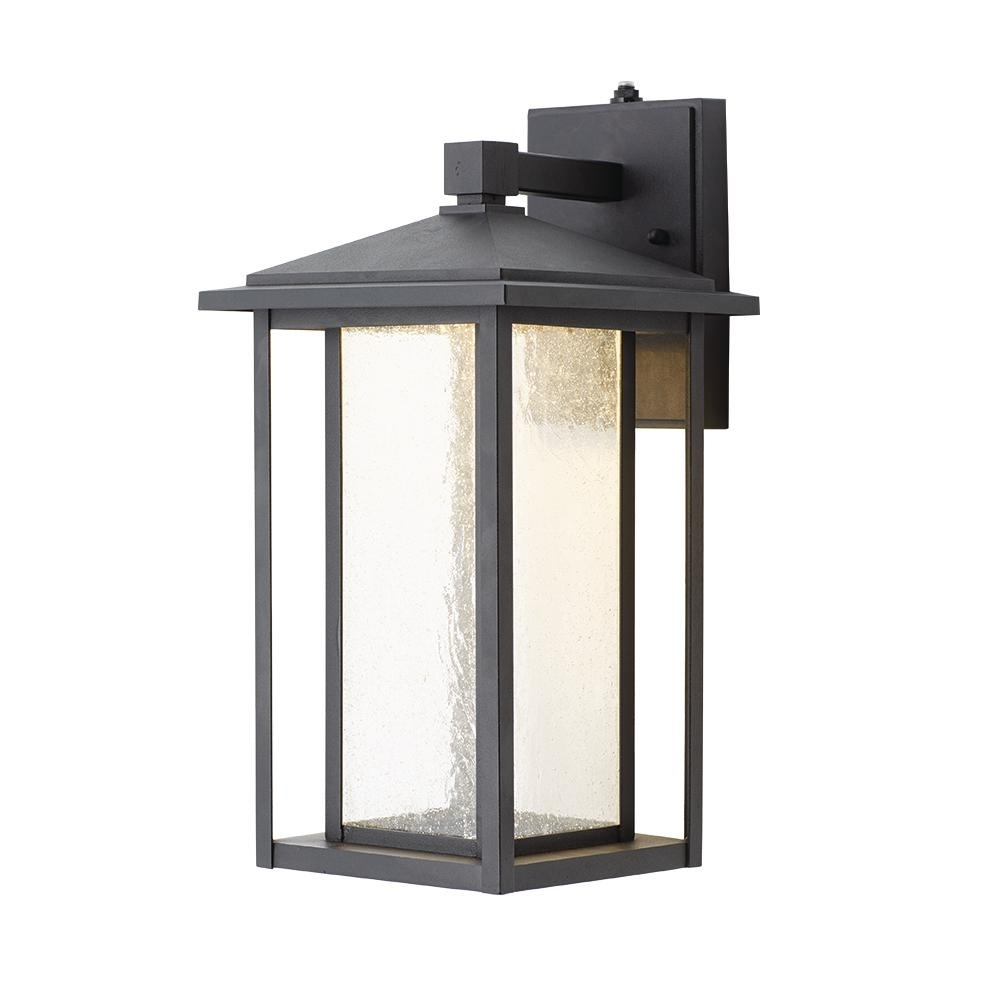 Home Decorators Collection Black Medium Outdoor Seeded Glass Dusk To Pertaining To Outdoor Home Wall Lighting (View 12 of 15)
