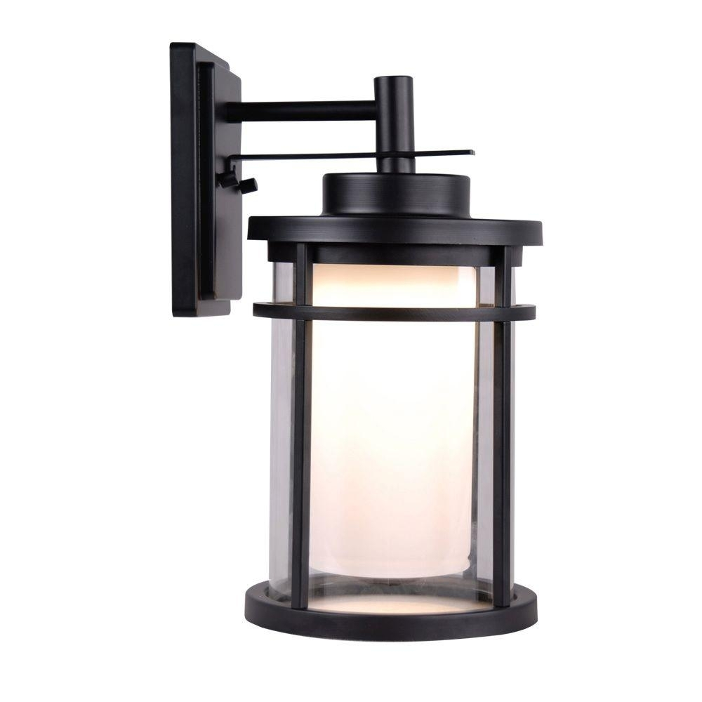Home Decorators Collection Black Outdoor Led Medium Wall Light In Outdoor Wall Lights In Black (#10 of 15)