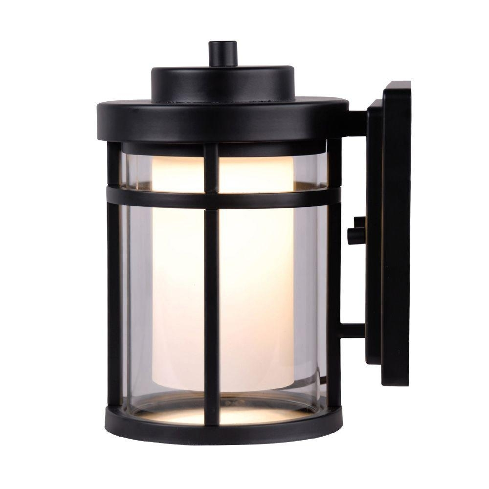Home Decorators Collection Black Outdoor Led Small Wall Light Intended For Black Outdoor Led Wall Lights (#8 of 15)