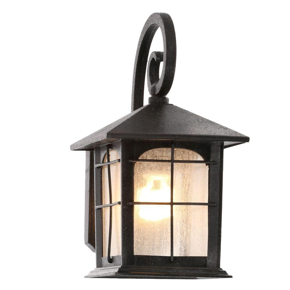 Home Decorators Collection Brimfield 1 Light Aged Iron Outdoor Wall For High Quality Outdoor Wall Lighting (#4 of 15)
