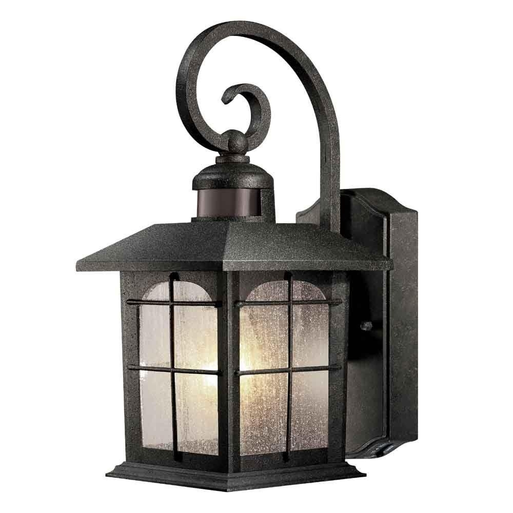 Home Decorators Collection Brimfield 180° 1 Light Aged Iron Motion Throughout Motion Sensor Outdoor Hanging Lights (View 13 of 15)