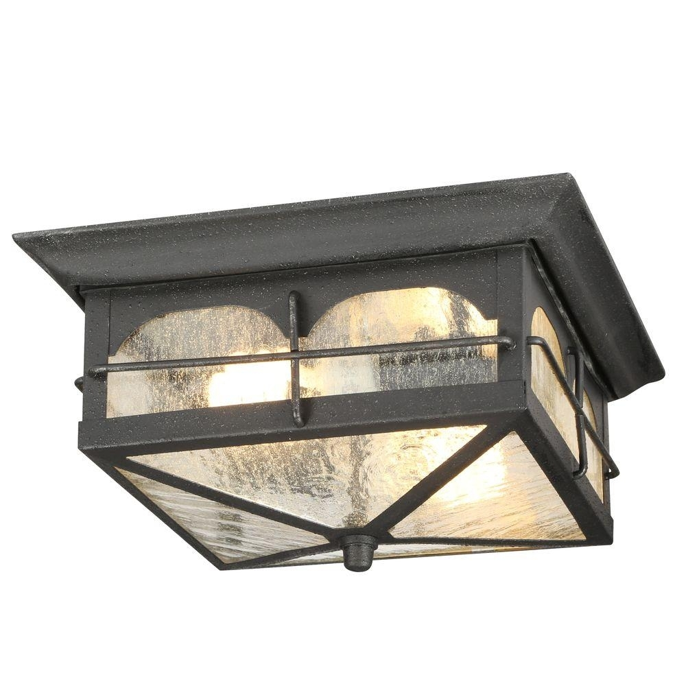 Home Decorators Collection Brimfield 2 Light Aged Iron Outdoor Pertaining To Outdoor Ceiling Lighting Fixtures (#8 of 15)