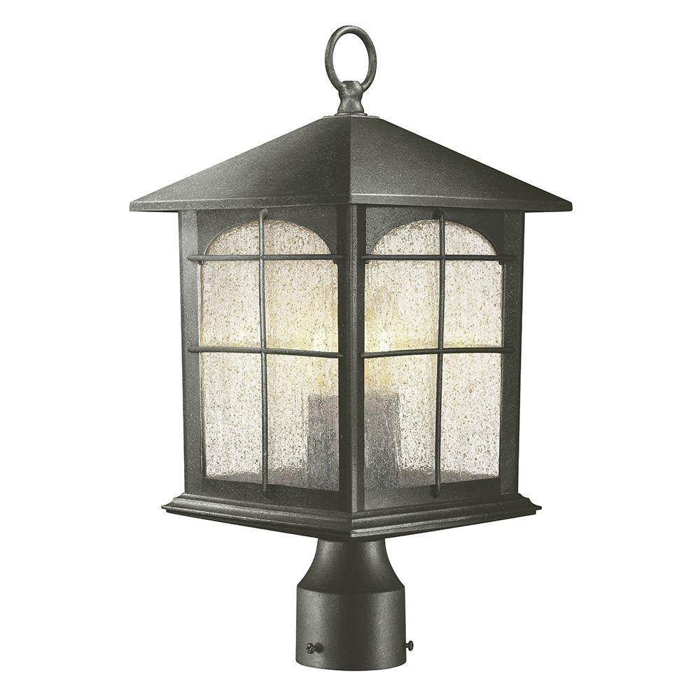 Home Decorators Collection Brimfield 3 Light Outdoor Aged Iron Post With Garden Porch Light Fixtures At Home Depot (#8 of 15)