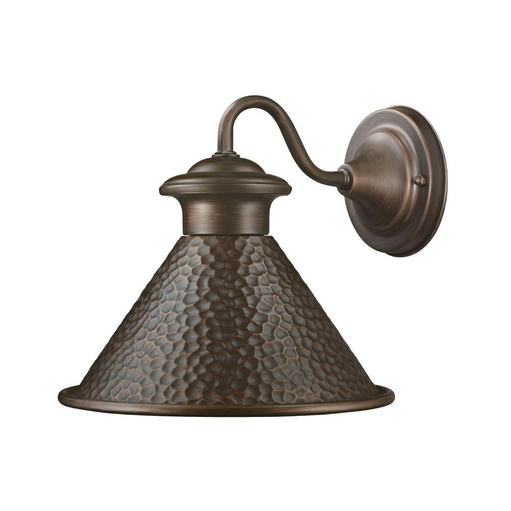 Home Decorators Collection Essen 1 Light Antique Copper Outdoor Wall Intended For Outdoor Porch Light Fixtures At Home Depot (#7 of 15)