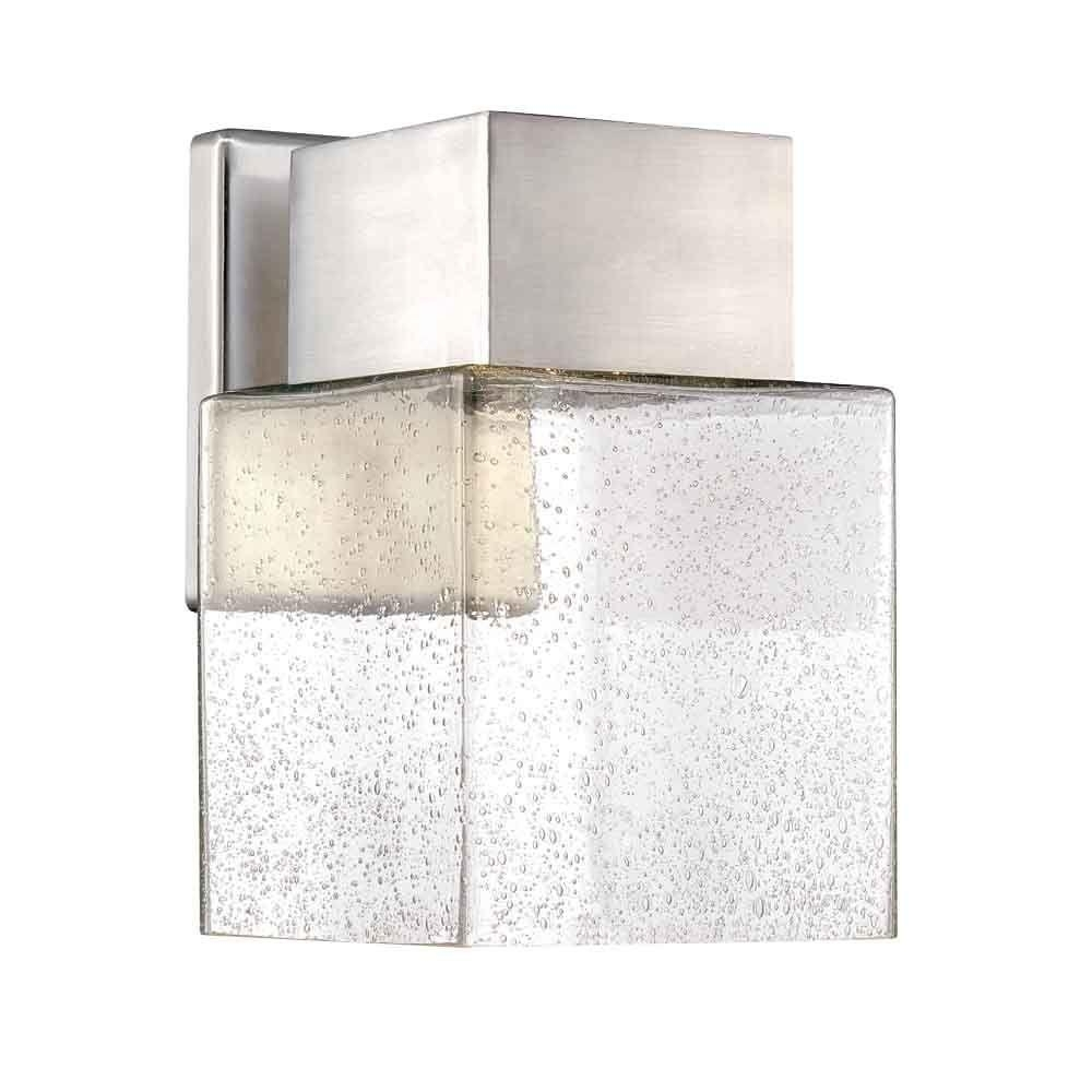 Home Decorators Collection Essex Brushed Nickel Outdoor Led Powered Pertaining To Modern Outdoor Light Fixtures At Home Depot (#8 of 15)