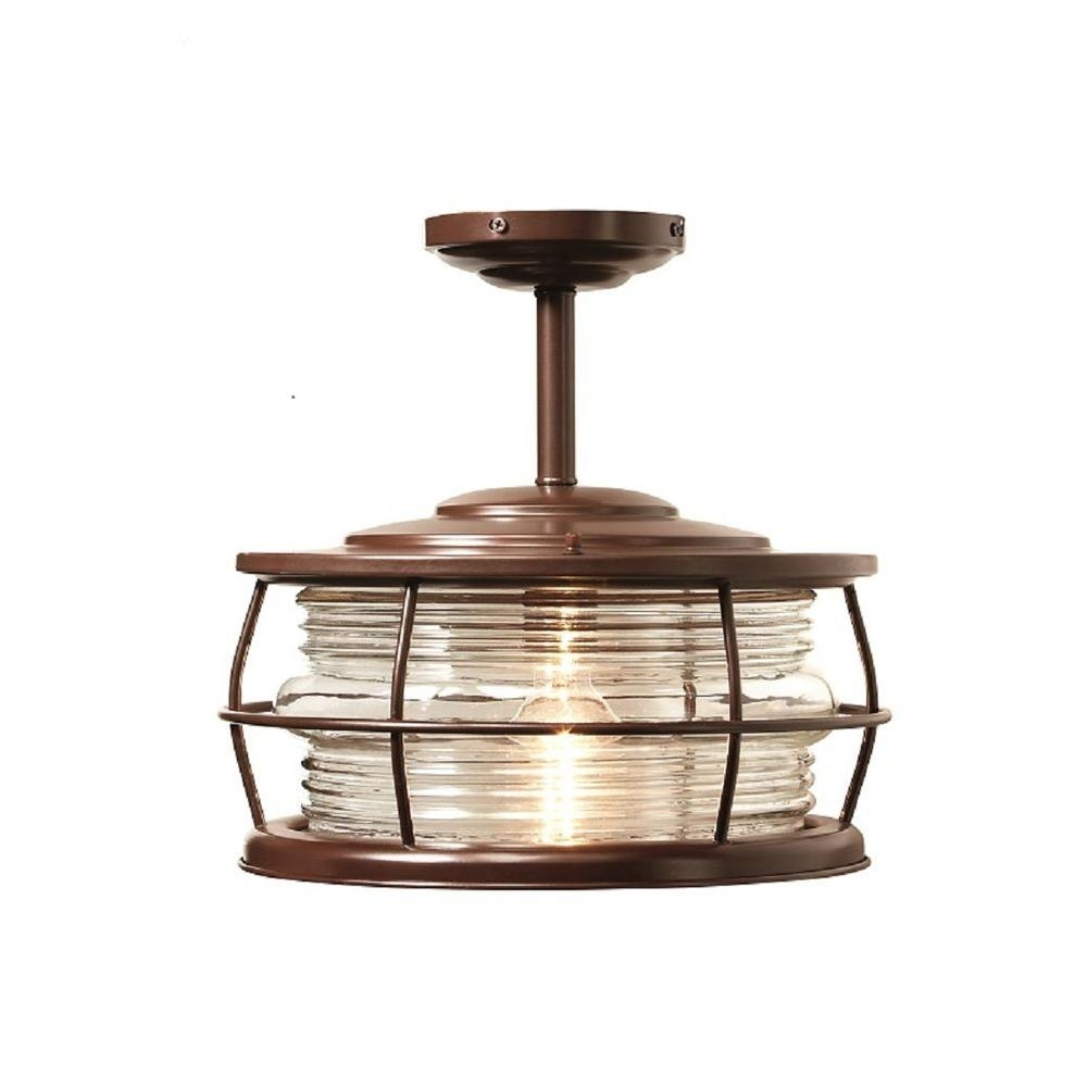 Home Decorators Collection Harbor 1 Light Copper Outdoor Hanging For Brass Outdoor Ceiling Lights (#9 of 15)