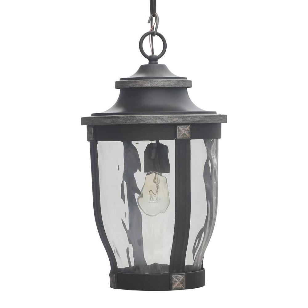 Home Decorators Collection Mccarthy 1 Light Bronze Outdoor Chain Within Outdoor Hanging Lighting Fixtures At Home Depot (#8 of 15)