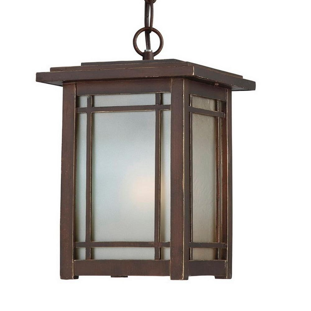Home Decorators Collection Port Oxford 1 Light Oil Rubbed Chestnut Within Outdoor Hanging Oil Lanterns (#8 of 15)