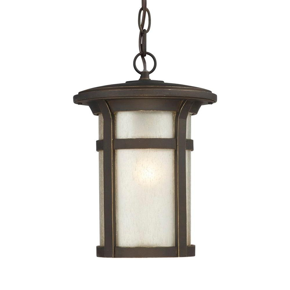 Home Decorators Collection Round Craftsman 1 Light Dark Rubbed Pertaining To Round Outdoor Hanging Lights (View 8 of 15)