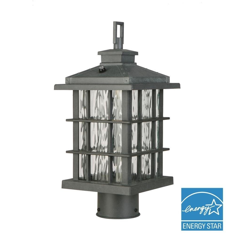 Home Decorators Collection Summit Ridge Collection Zinc Outdoor Pertaining To Outdoor Led Post Lights Fixtures (View 11 of 15)