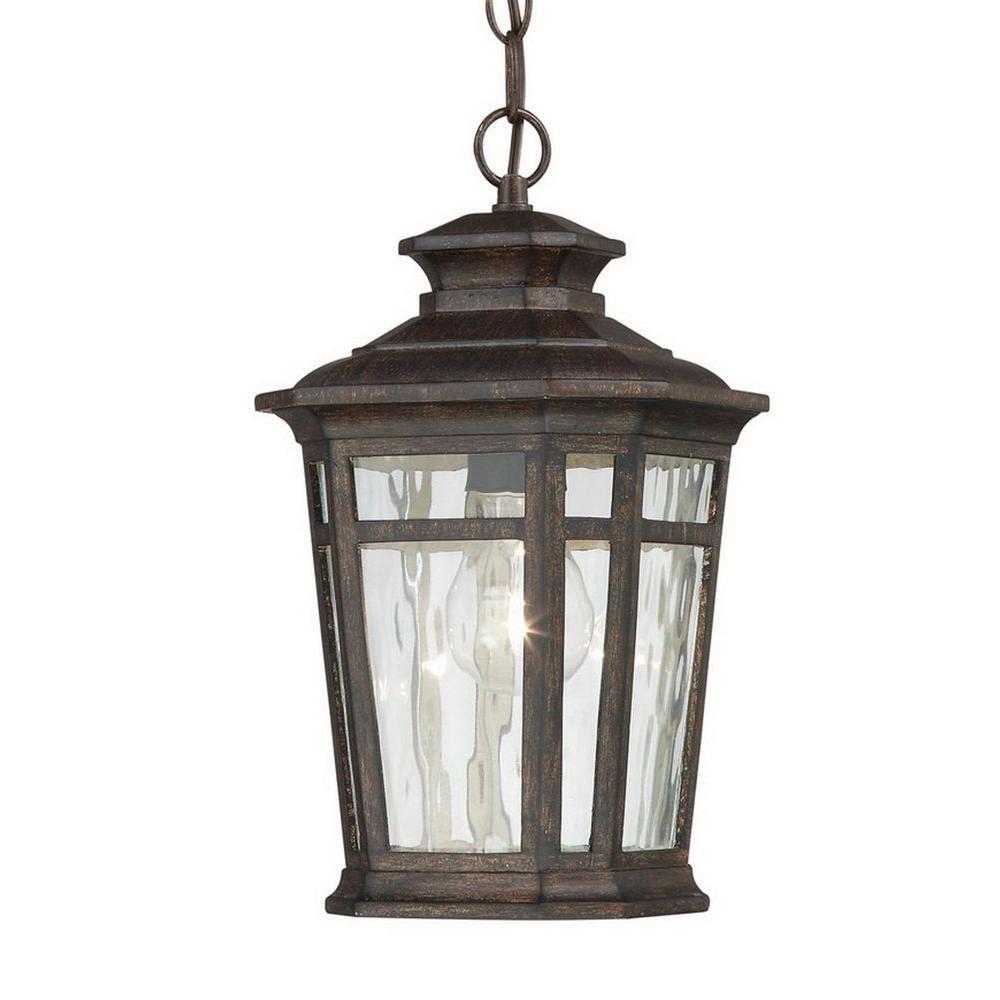 Home Decorators Collection Waterton 1 Light Dark Ridge Bronze Throughout Outdoor Hanging Lighting Fixtures At Home Depot (#9 of 15)