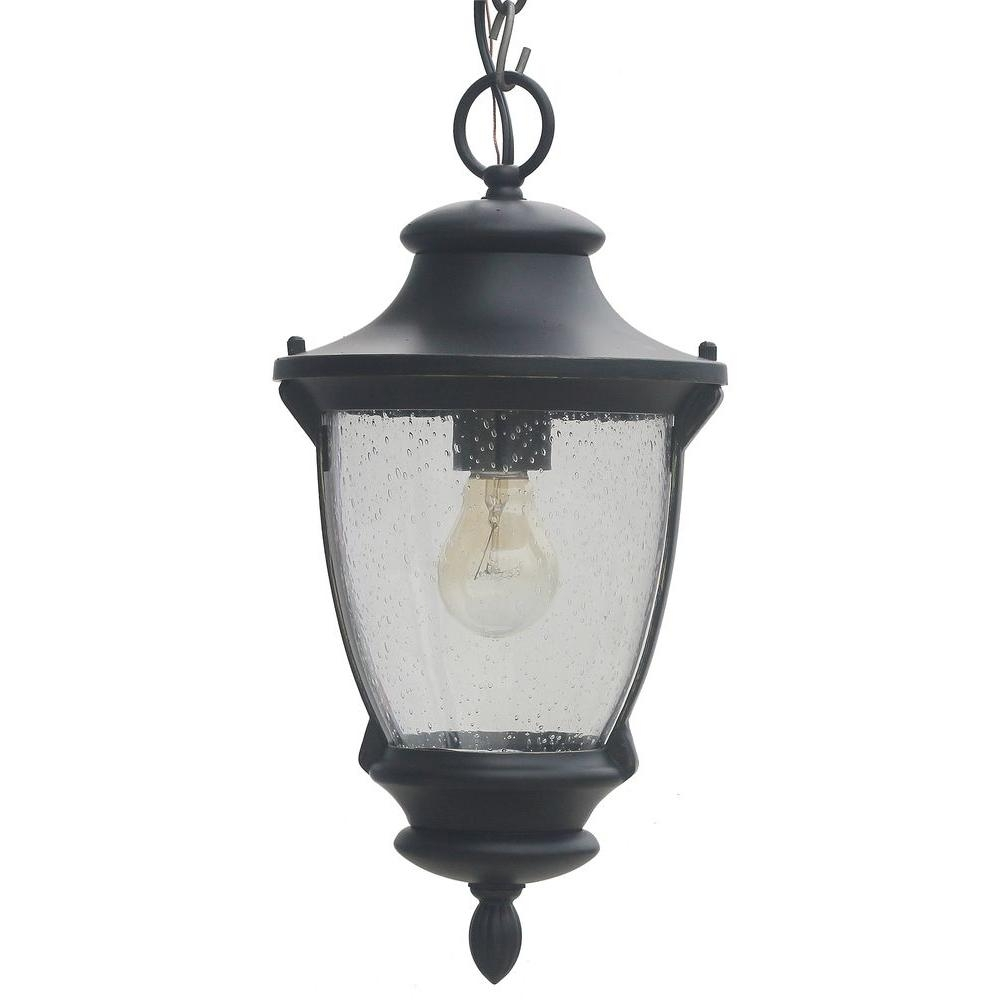 Home Decorators Collection Wilkerson 1 Light Black Outdoor Chain Intended For Outdoor Hanging Post Lights (#6 of 15)