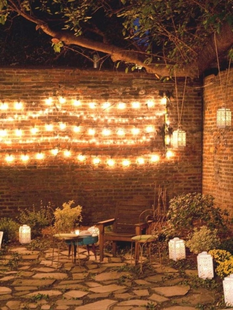 Home Design Ideas : Lamp Ultimate Power String Patio Lights For With Hanging Outdoor Lights On Brick (#11 of 15)