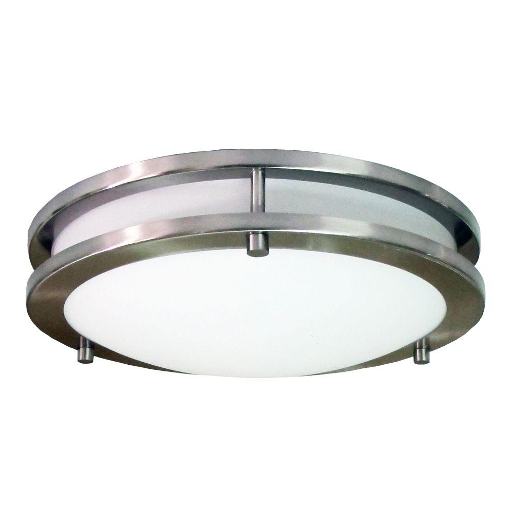 Homeselects Saturn 2 Light Brushed Nickel Flushmount 6102 – The Home Regarding Modern Hampton Bay Outdoor Lighting At Wayfair (#11 of 15)
