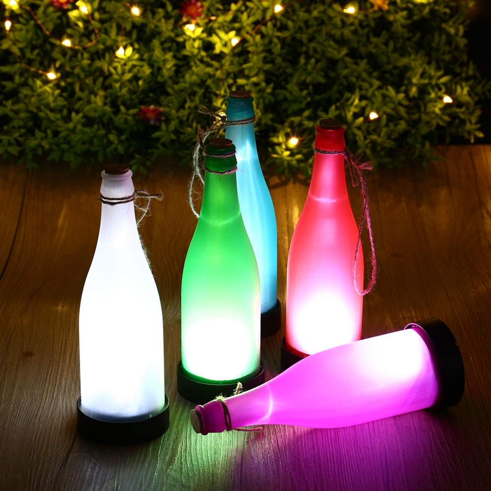 Hot 5Pcs Plastic Led Solar Wine Bottle Lights Garden Hanging Lamp Throughout Outdoor Plastic Hanging Lights (#7 of 15)