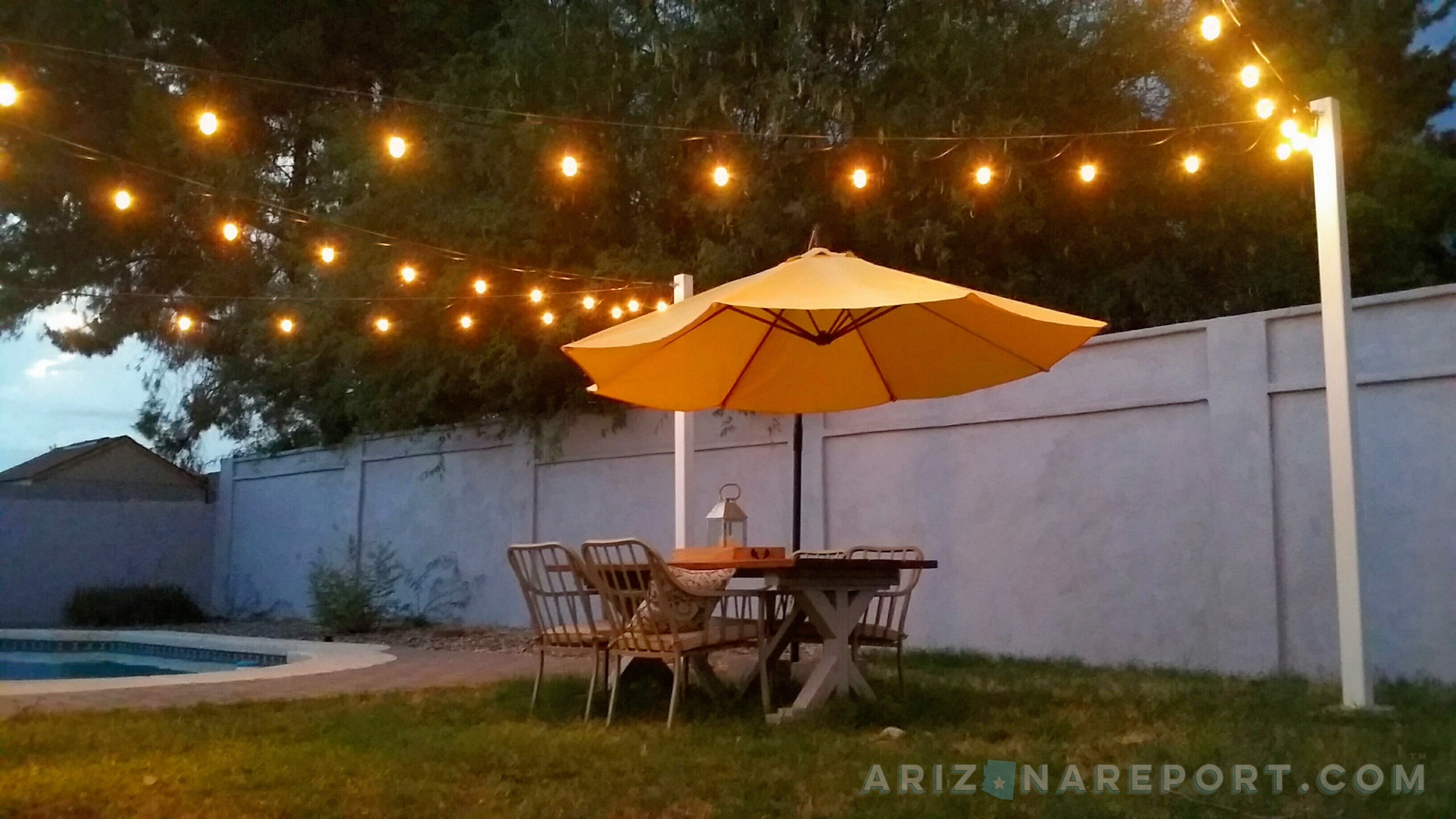 How To Hang String Lights And Cafe Lights | The Arizona Report™ Within Hanging Outdoor Cafe Lights (#7 of 15)