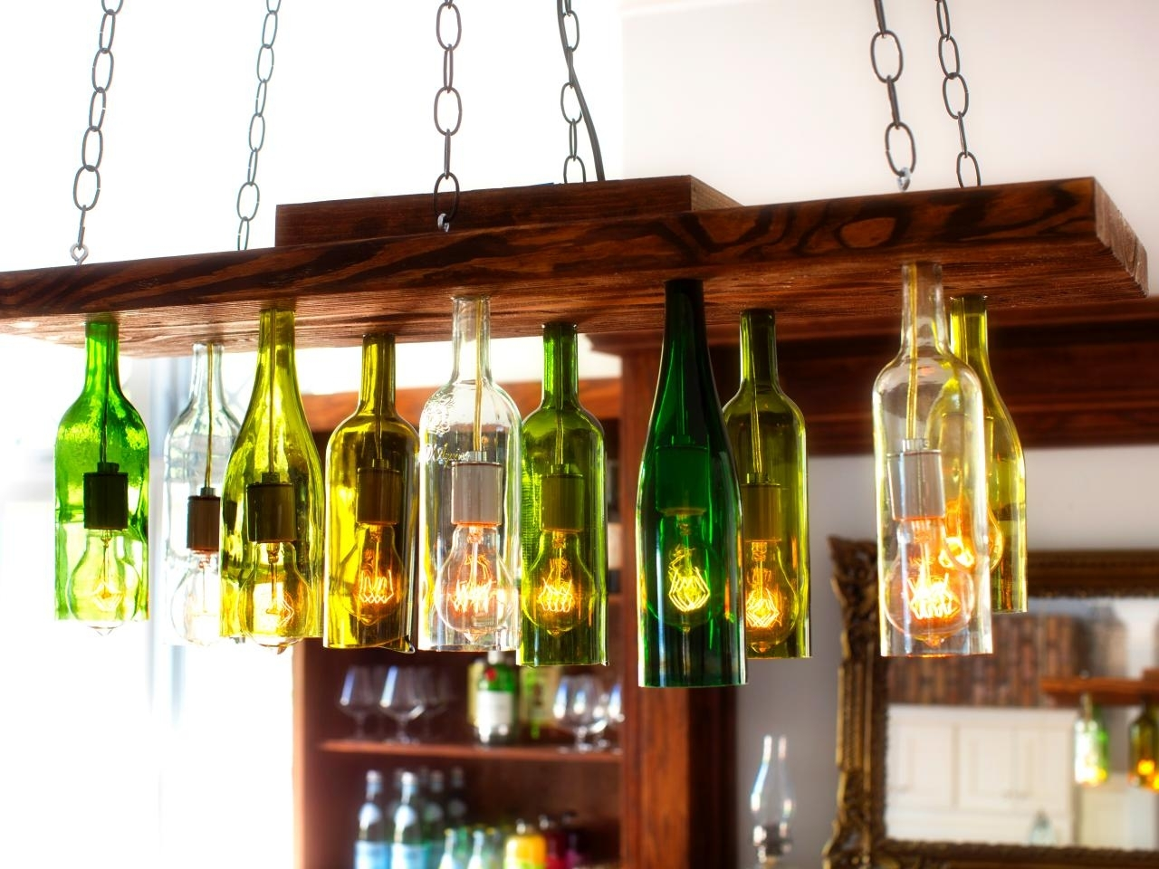 How To Make A Chandelier From Old Wine Bottles | How Tos | Diy With Regard To Making Outdoor Hanging Lights From Wine Bottles (#9 of 15)