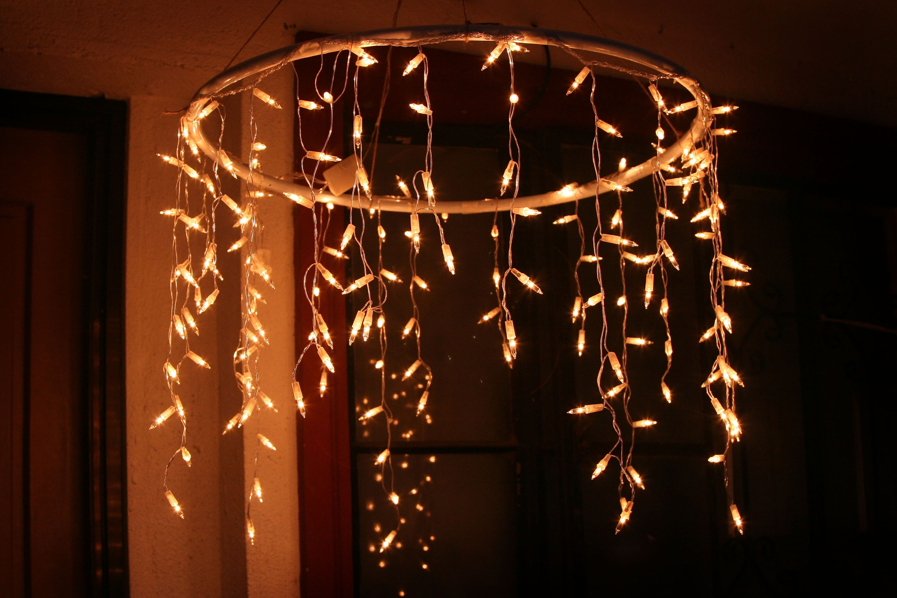 How To Make An Outdoor Chandelier With Icicle Christmas Lights With Outdoor Hanging Icicle Lights (#9 of 15)