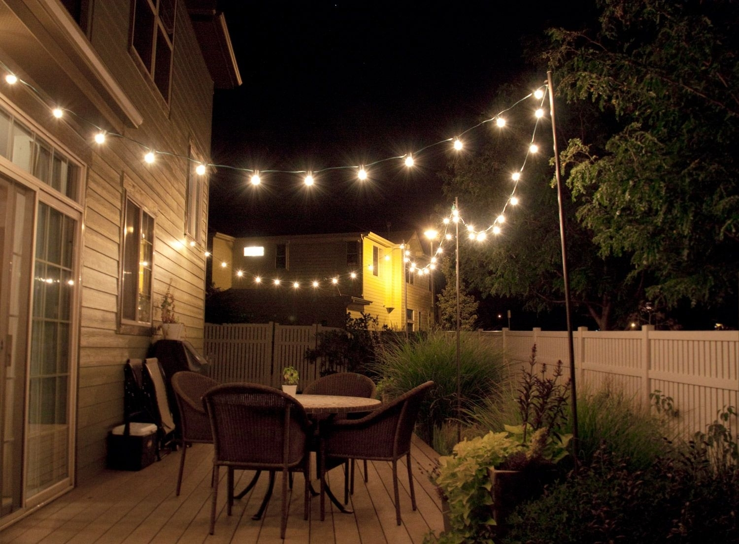 How To Make Inexpensive Poles To Hang String Lights On – Café Style Intended For Hanging Outdoor Lights In Backyard (#11 of 15)