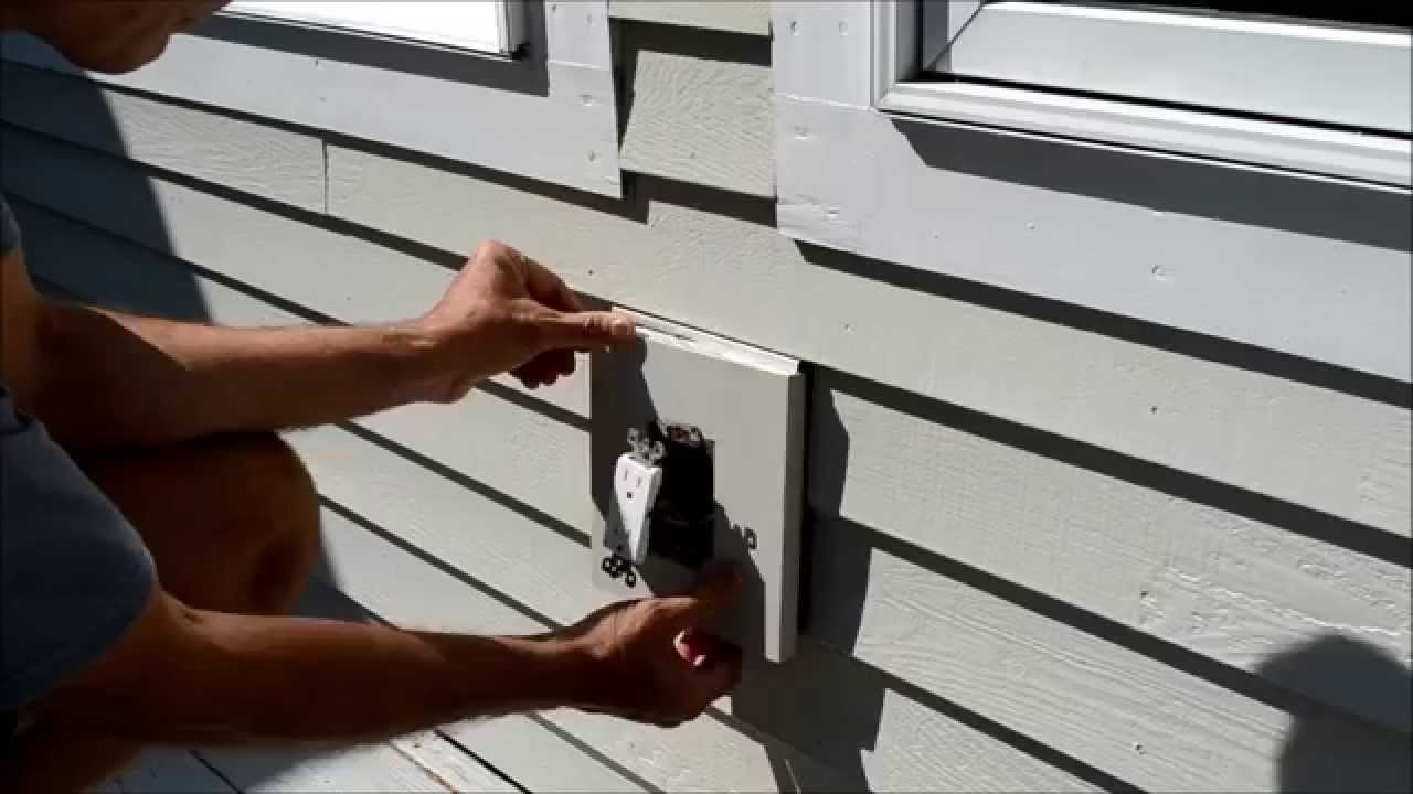 How To Replace Electrical Outlet Mounting Block Video – Youtube With Hanging Outdoor Lights On Vinyl Siding (#7 of 15)