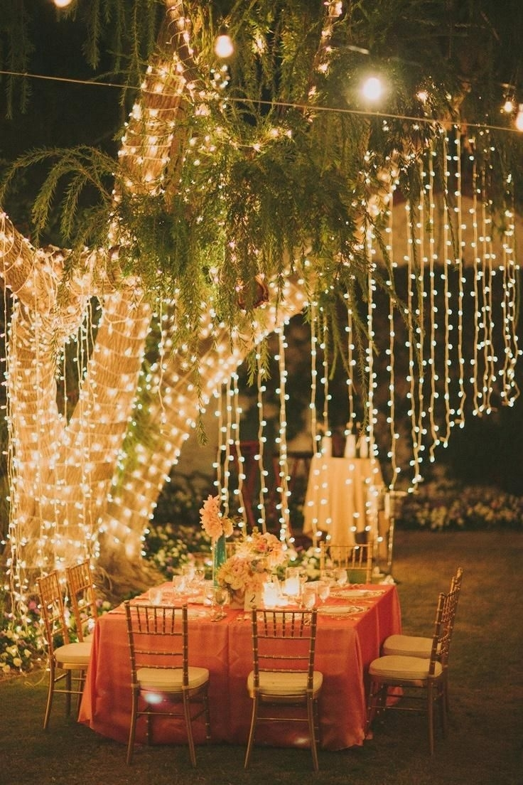Image Result For Hanging Fairy Lights Wedding | Deko Im Garten In Outdoor Hanging Lights For Trees (View 10 of 15)