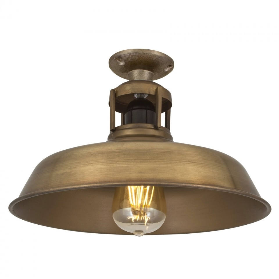 Industrial Barn Slotted Flush Mount Ceiling Light In Brass With Regard To Outdoor Barn Ceiling Lights (#6 of 15)