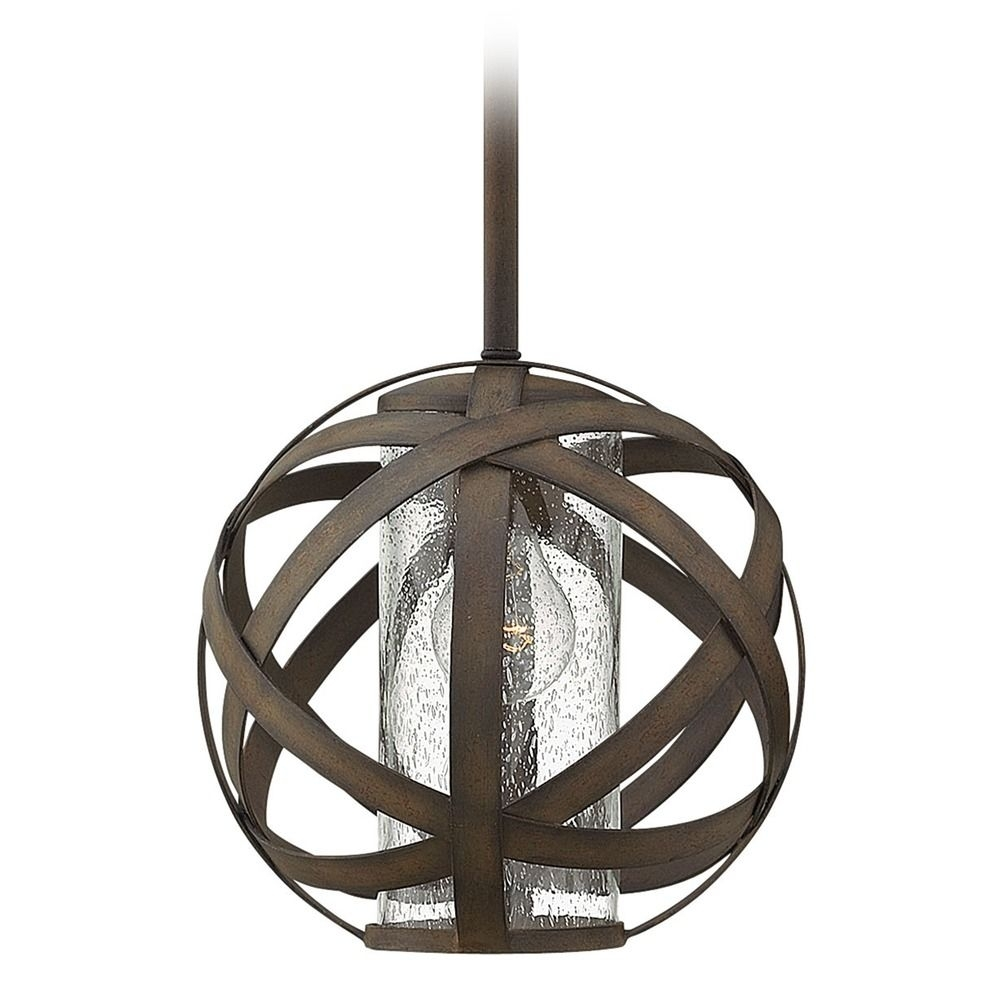 Inspiration about Industrial Vintage Seeded Glass Outdoor Hanging Light Iron Hinkley Pertaining To Hinkley Outdoor Hanging Lights (#2 of 15)
