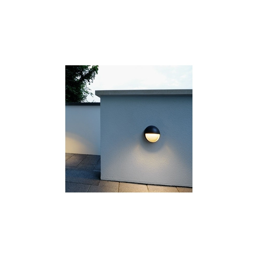 Inspiration about Intalite 230862 Anthracite Led Downunder Round Warm White Outdoor Inside Round Outdoor Wall Lights (#12 of 15)