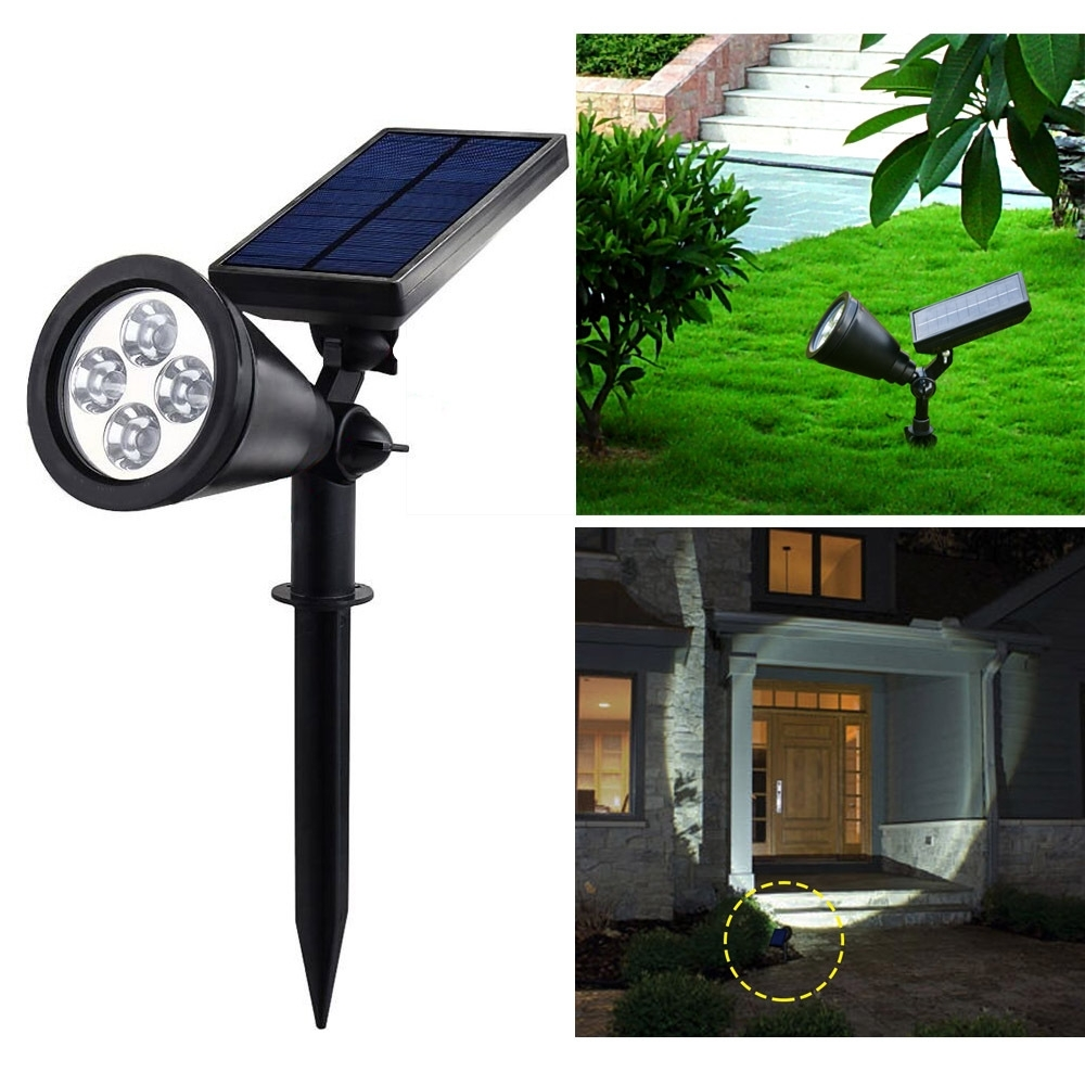Ip44 4leds Solar Spot Light 6000~7000k 200lm Lawn Lamp Super Bright Intended For Solar Outdoor Lighting (View 7 of 15)