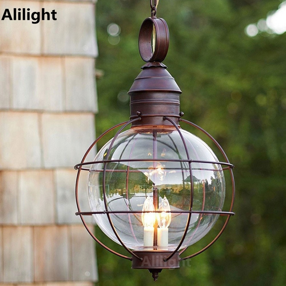 Inspiration about Iron Industrial Loft Outdoor Pendant Lamp Globe Multipurpose Porch With Solar Outdoor Hanging Lights (#13 of 15)