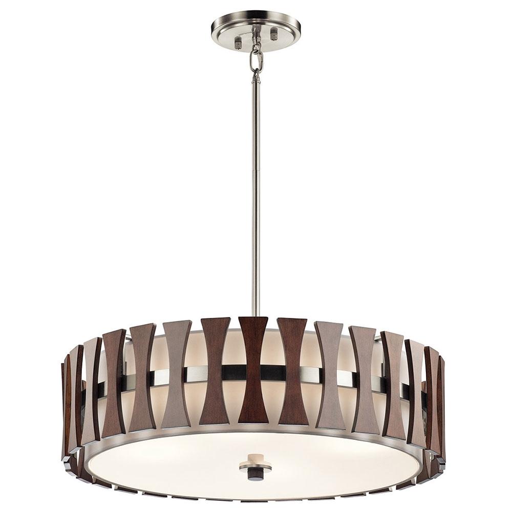 Kichler 43753Aub Cirus Modern Auburn Stained Drum Pendant Lighting With Modern Pendant Lighting Fixtures (#7 of 15)