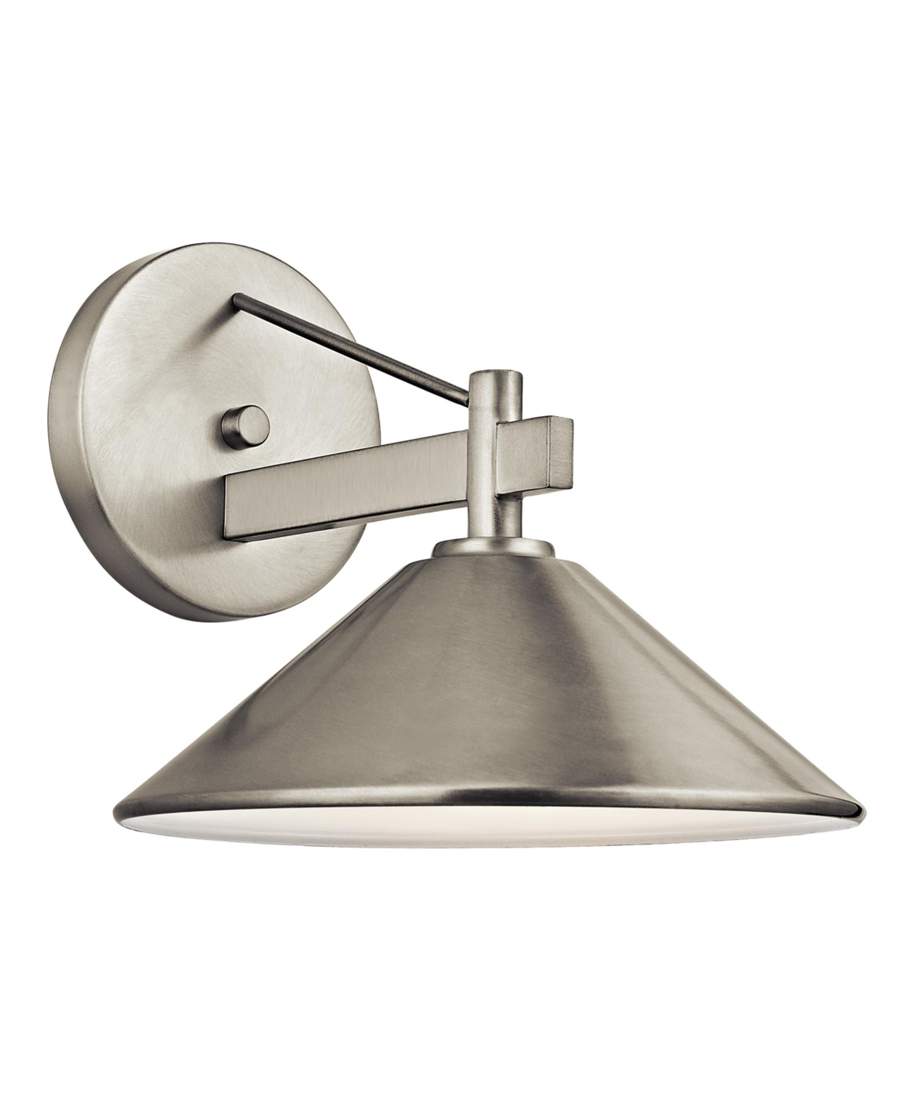Kichler 49060 Ripley 10 Inch Wide 1 Light Outdoor Wall Light Regarding Brushed Nickel Outdoor Wall Lighting (#4 of 15)