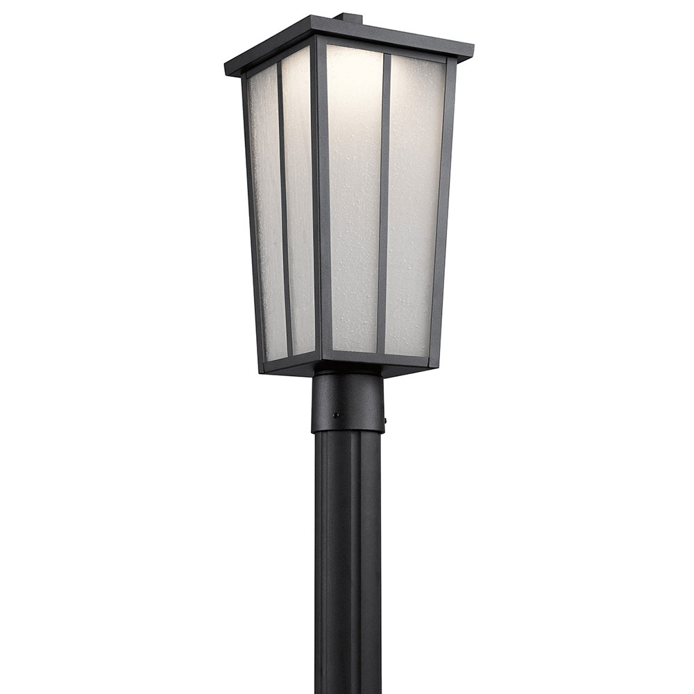 Kichler 49625Bktled Amber Valley Textured Black Led Exterior Throughout Outdoor Post Lights Kichler Lighting (View 13 of 15)