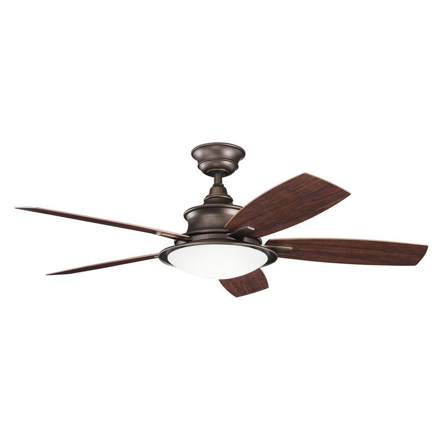 Kichler Lighting Cameron 52 In Weathered Copper Downrod Mount Indoor Within Outdoor Ceiling Fans With Copper Lights (#14 of 15)