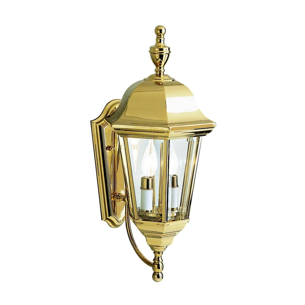 Kichler Lighting Grove Mill Collection 2 Light Polished Brass Within Polished Brass Outdoor Wall Lights (#7 of 15)