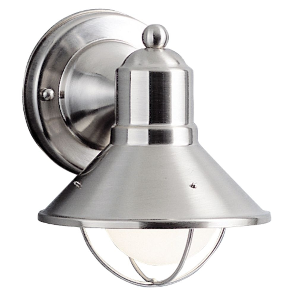 Kichler Nautical Outdoor Wall Light In Brushed Nickel   9021Ni Throughout Nickel Outdoor Wall Lighting (#4 of 15)