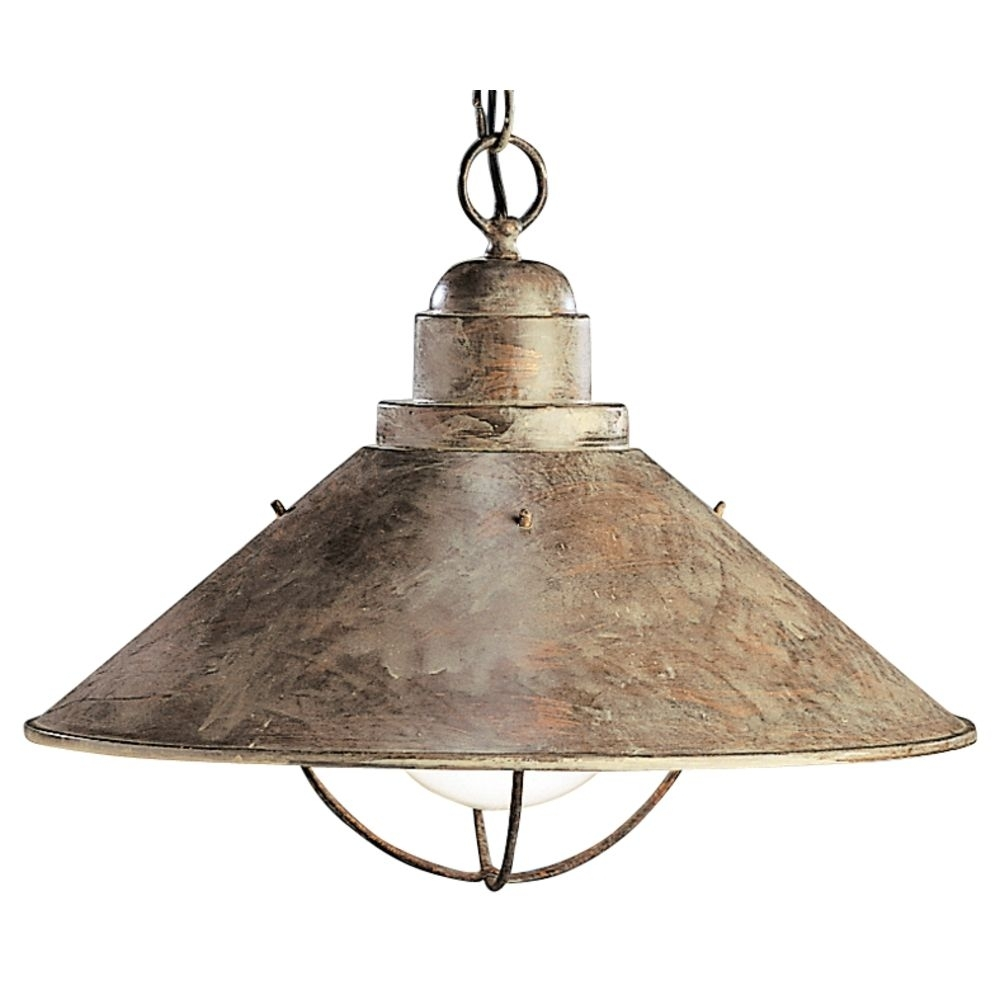 Kichler Nautical Pendant Light In Olde Brick Finish With Bulb Cage With Nautical Outdoor Hanging Lights (View 4 of 15)