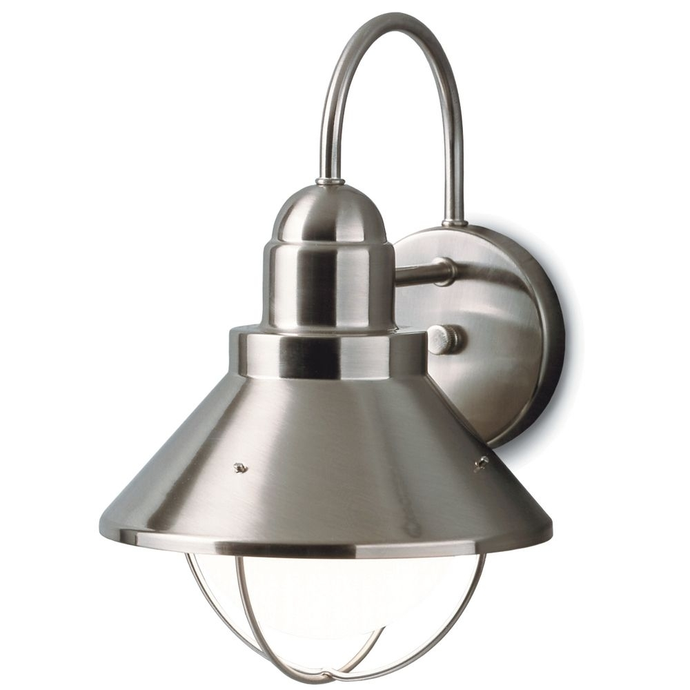 Kichler Outdoor Nautical Wall Light In Brushed Nickel Finish Inside Kichler Outdoor Lighting Wall Sconces (View 6 of 15)