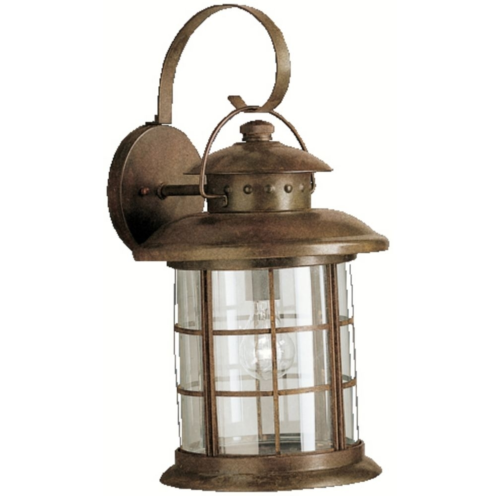 Kichler Outdoor Wall Light With Clear Glass In Rustic Finish Within Kichler Outdoor Lighting Wall Sconces (View 11 of 15)