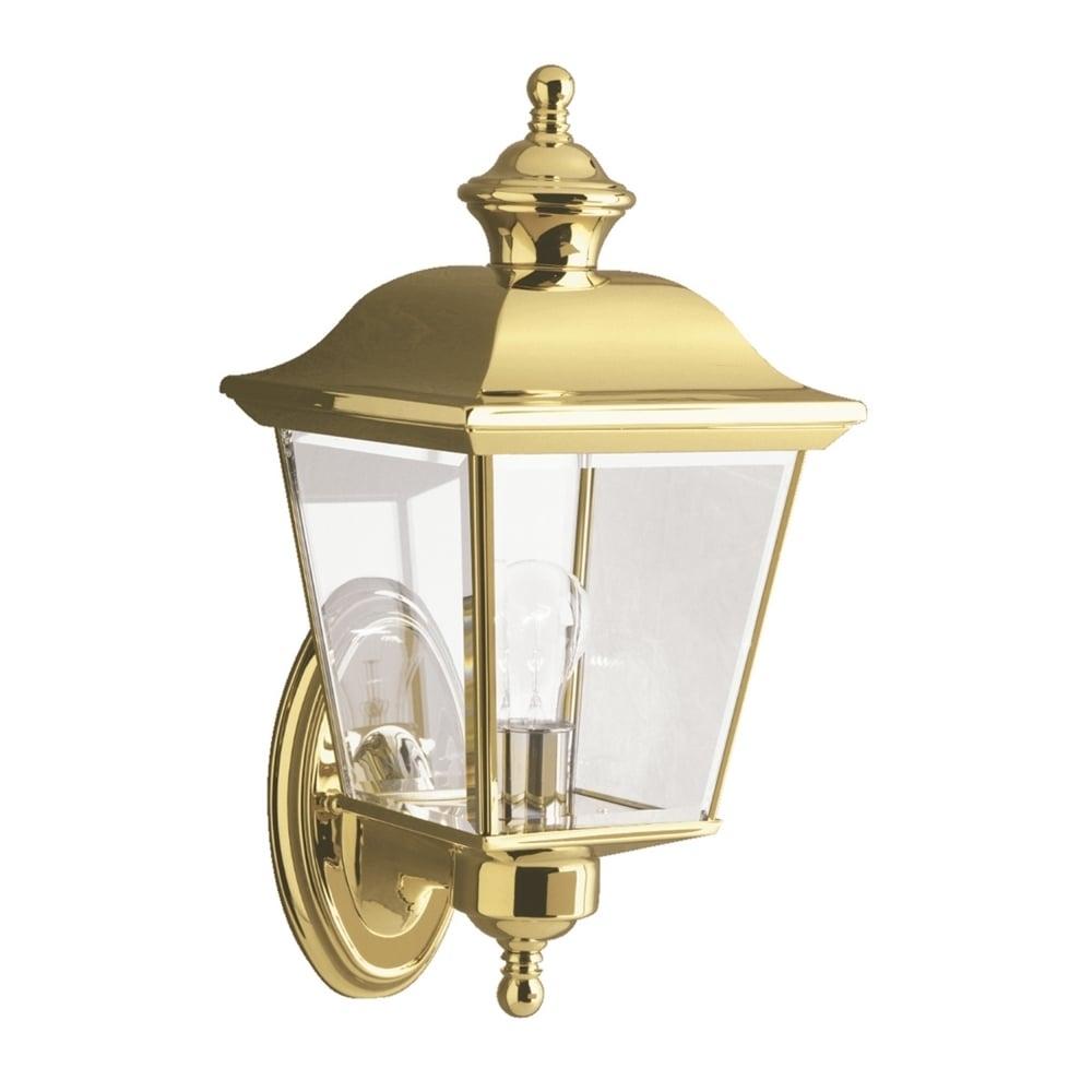 Kl/bayshore1/m Bay Shore Medium Outdoor Wall Light In Polished Brass Regarding Polished Brass Outdoor Wall Lighting (#8 of 15)