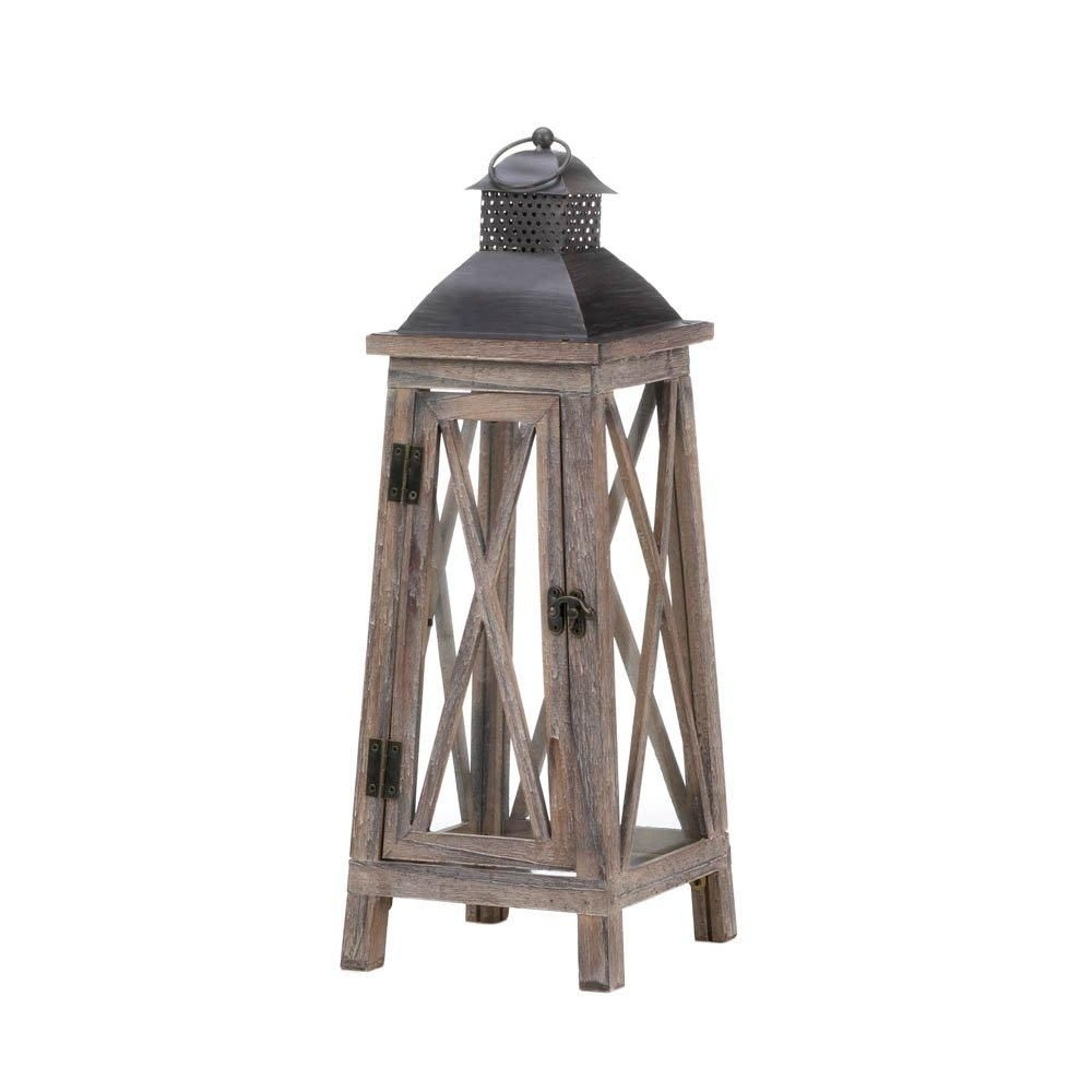 Lantern Candle Holders, Outdoor Hanging Decorative Tower Wood Candle Regarding Outdoor Hanging Lanterns Candles (View 7 of 15)
