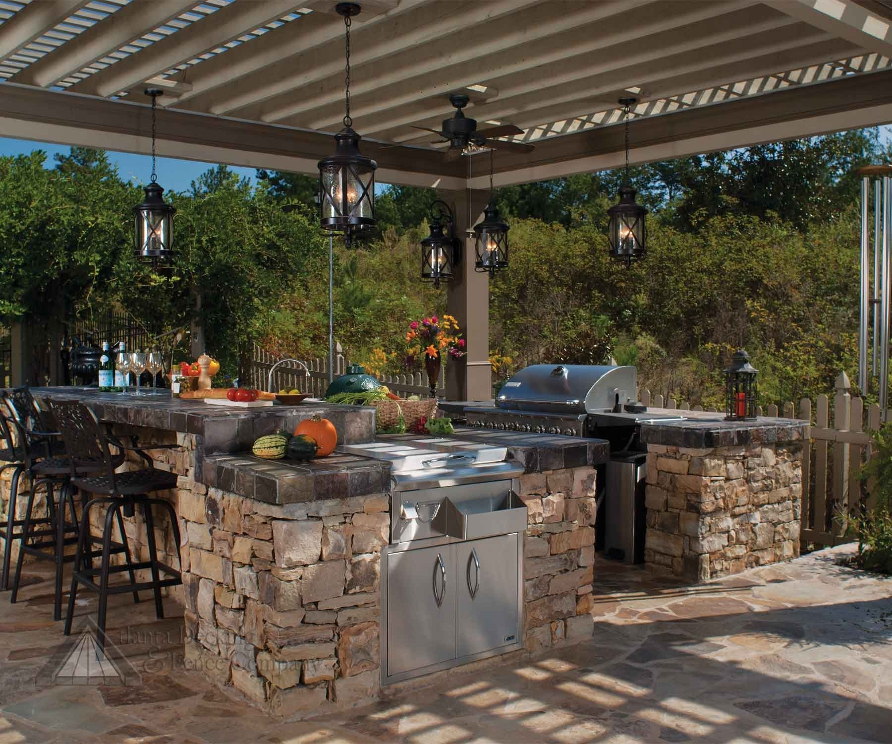 Lantern Shaped Hanging Outdoor Pendant Lights In An Outdoor Kitchen Inside Outdoor Hanging Lights For Patio (View 7 of 15)