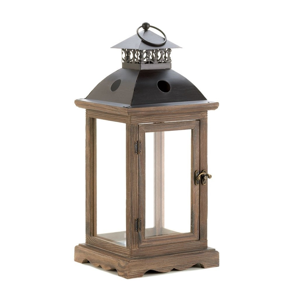 Large Monticello Candle Lantern | Rustic Wood, Candle Lanterns And Woods Inside Outdoor Hanging Candle Lanterns At Wholesale (#9 of 15)