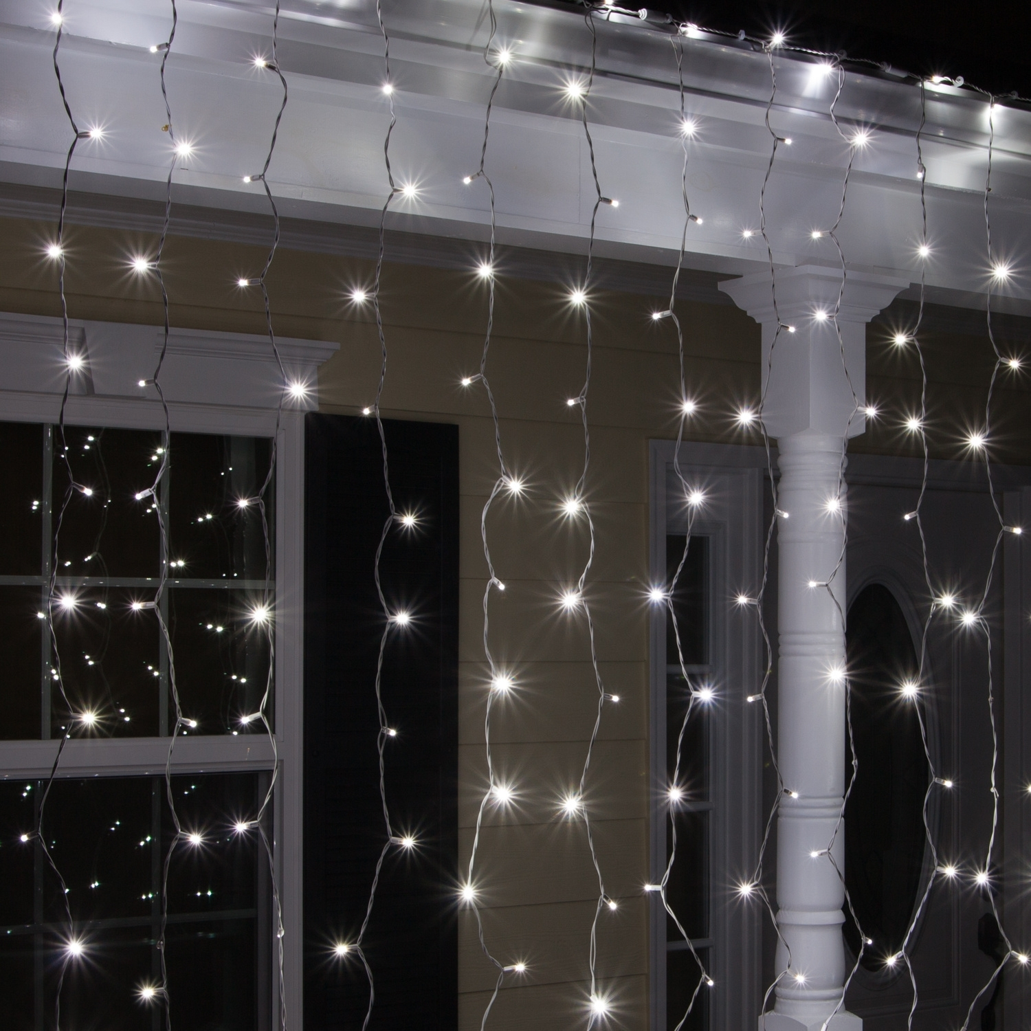 """Led Christmas Lights – 66"""" Drop Cool White Led Curtain Lights, 150 Pertaining To Outdoor Hanging Icicle Lights (#12 of 15)"""