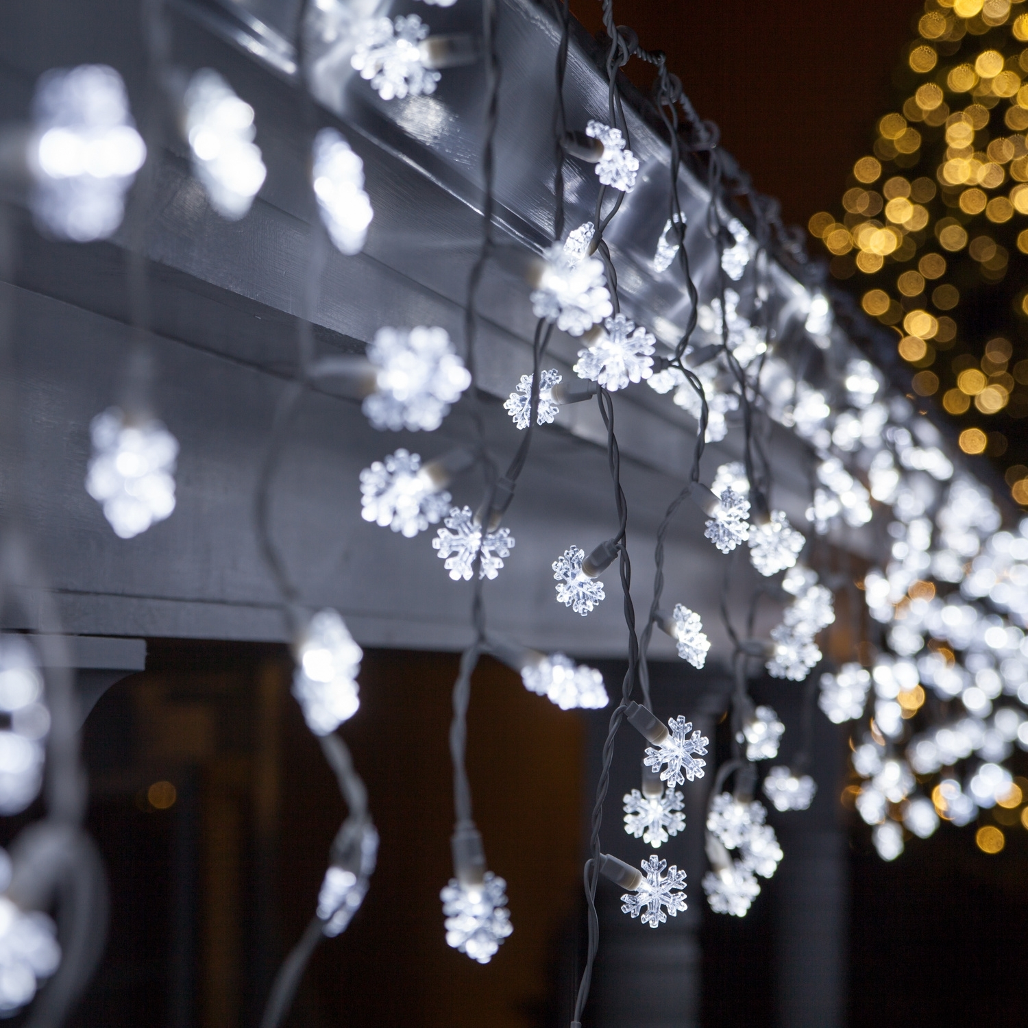 Led Christmas Lights – 70 Cool White Snowflake Led Icicle Lights Inside Outdoor Hanging Snowflake Lights (View 7 of 15)