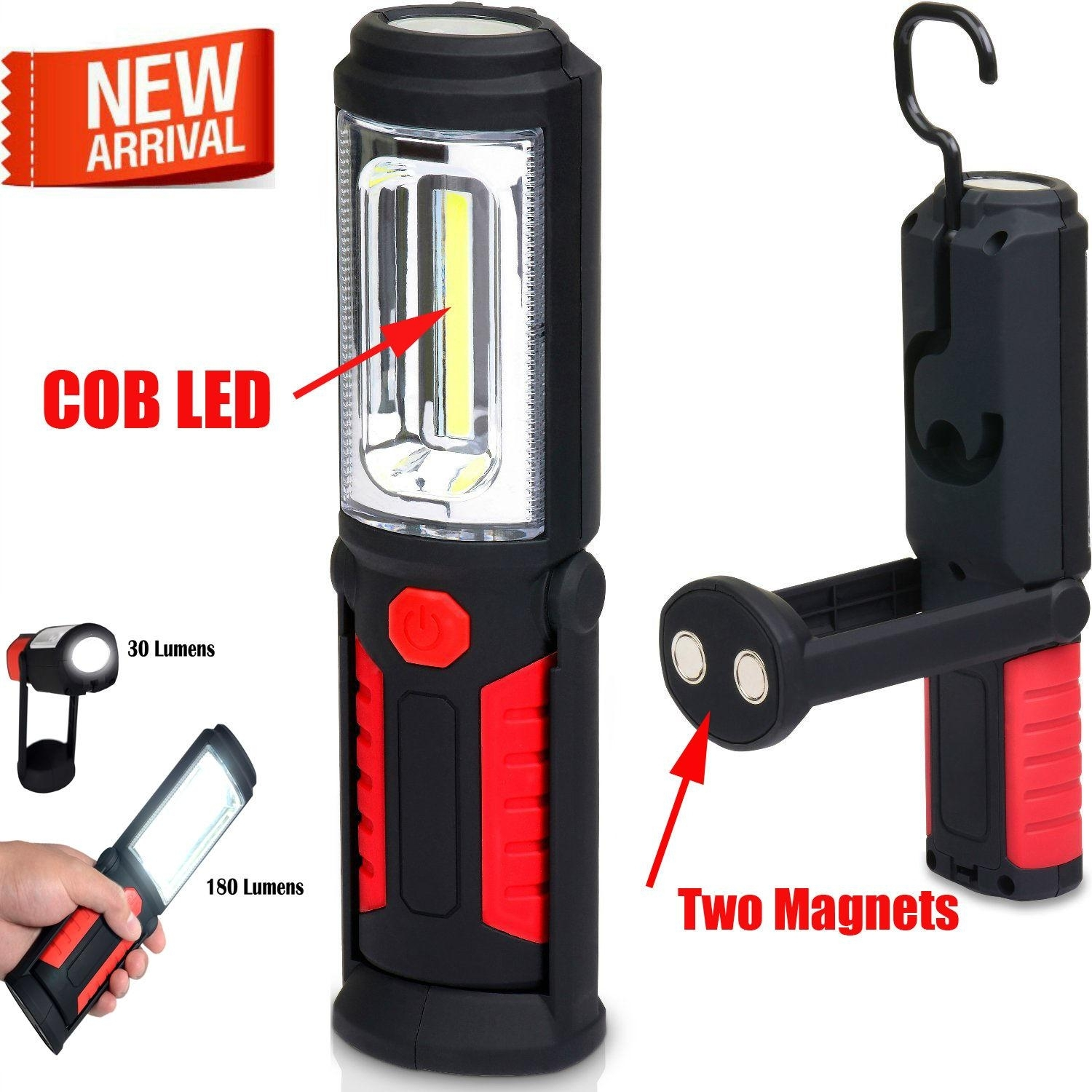 Led Magnetic Work Light Cob Stand Hook Inspection Hanging Flashlight Intended For Outdoor Hanging Work Lights (View 4 of 15)