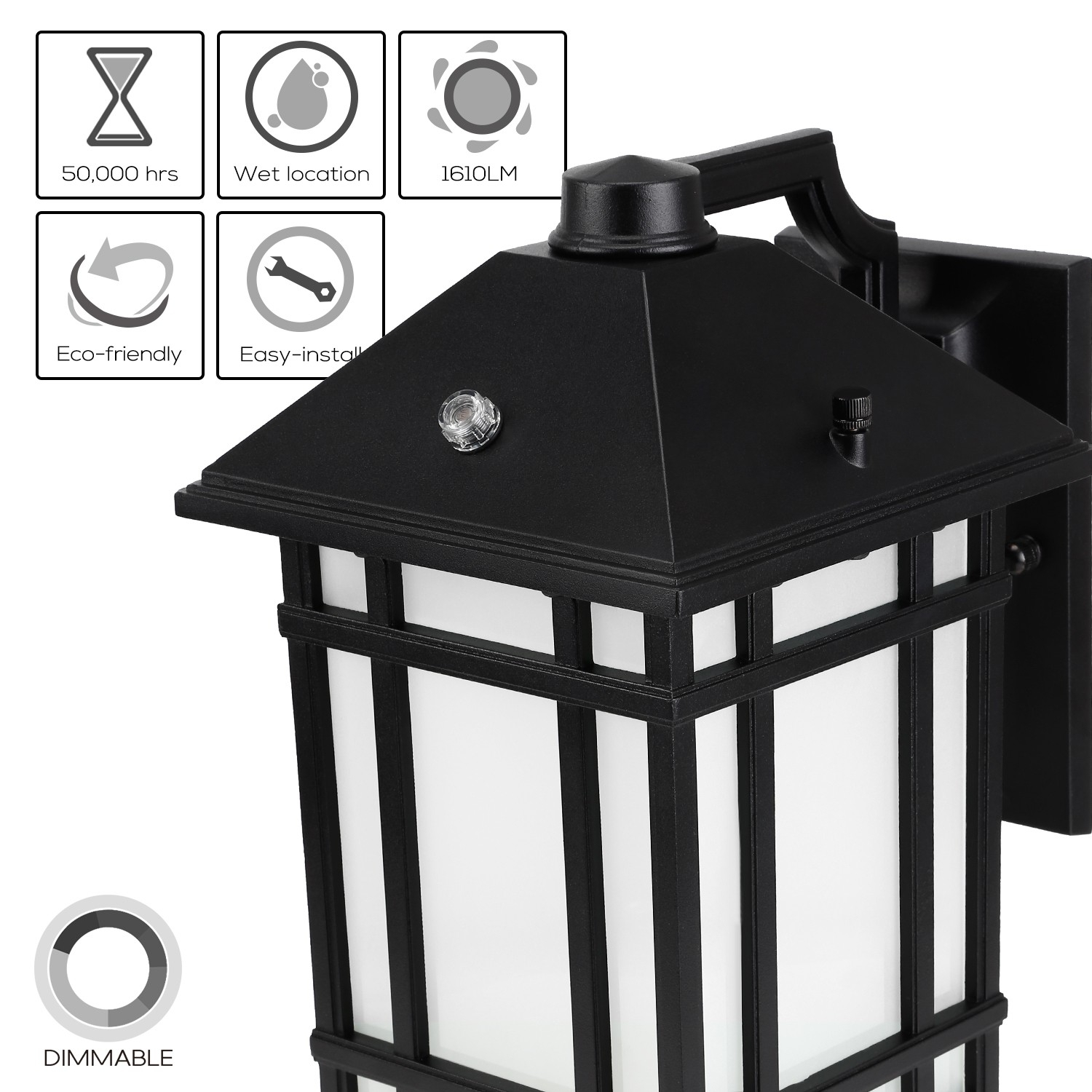 Led Outdoor Wall Lantern With Dusk To Dawn Photocell, 23W (130W For Dusk To Dawn Led Outdoor Wall Lights (#9 of 15)