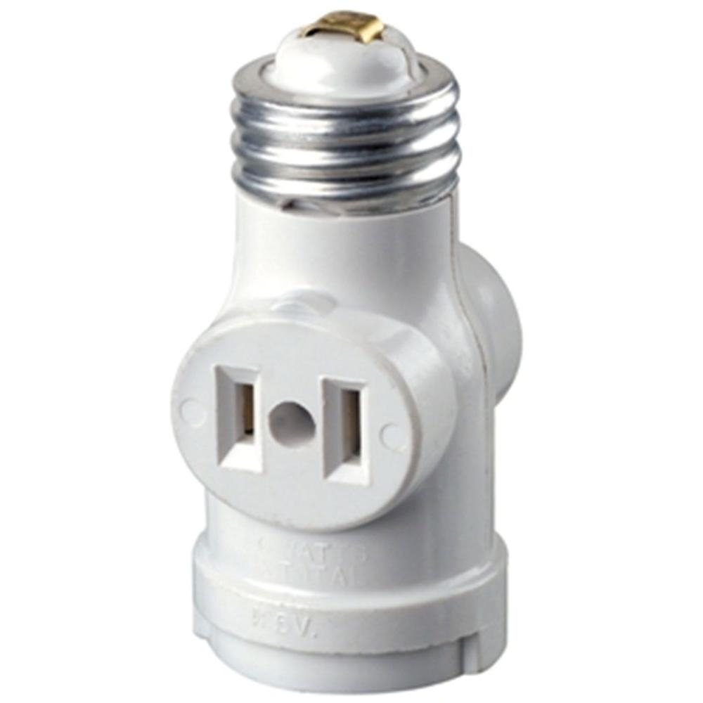 Leviton Socket With Outlets, White R52 01403 00W – The Home Depot Inside Outdoor Ceiling Light With Outlet (View 13 of 15)
