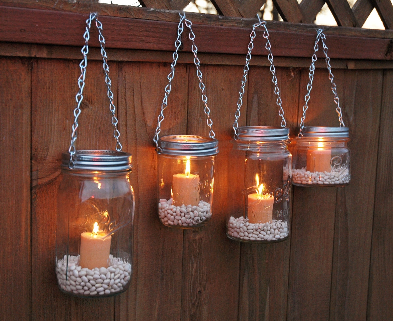 Lighting : Hanging Mason Jar Garden Lights Diy Lids Set Intended For Outdoor Hanging Mason Jar Lights (View 10 of 15)