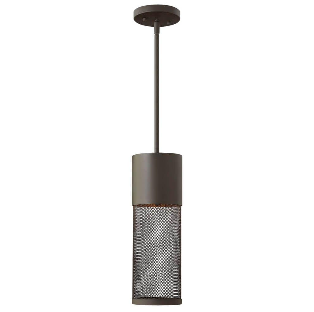 Lighting: Modern Mesh Cylinder Metal Outdoor Pendant Lighting Design Pertaining To Modern Outdoor Pendant Cylinder Lighting Fixtures (#10 of 15)